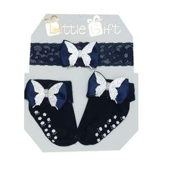 ست هدبند و جوراب نوزادی مدل پروانه رنگ سرمه ای