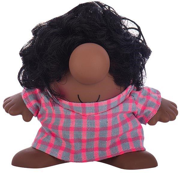 عروسک پالیز مدل مستر دماغ با موی مجعد و لباس چهار خانه سایز خیلی کوچک