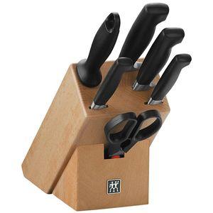 ست 6 عددی چاقوی زولینگ به همراه پایه نگهدارنده مدل توئین چهار ستاره کد 188732