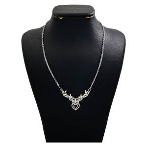 گردنبند نقره زنانه دلی جم طرح گوزن کد D 122