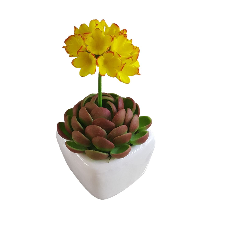 گلدان به همراه گل مصنوعی طرح کاکتوس شمعدانی کد ZD20
