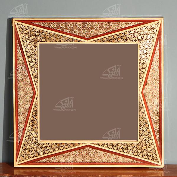 آینه خاتم  رنگ قهوه ای طرح دلگشا مدل 1509700007