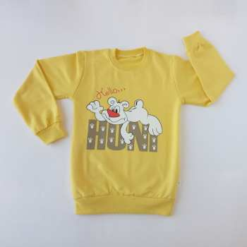 سویشرت دخترانه مدل خرس رنگ زرد