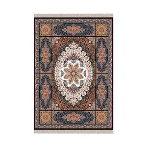 فرش پارچه ای طرح قالی ابریشم قدمگاه مدل فرشینه
