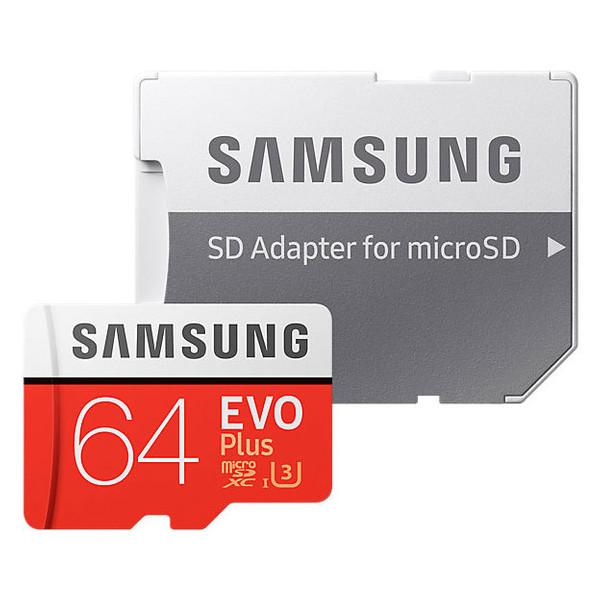 کارت حافظه microSDXC سامسونگ مدل Evo Plus کلاس 10 استاندارد UHS-I U3 سرعت 100MBps ظرفیت 64 گیگابایت به همراه آداپتور SD