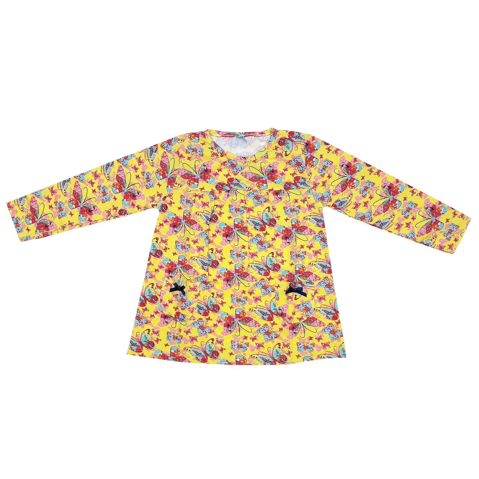 ست تی شرت و شلوار دخترانه طرح پروانه کد 3071 رنگ زرد -  - 4