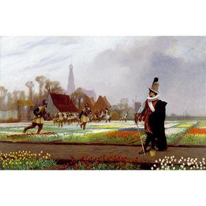 تابلو شاسی گالری هنری پیکاسو طرح جنون گل لاله سایز 40x30 سانتی متر