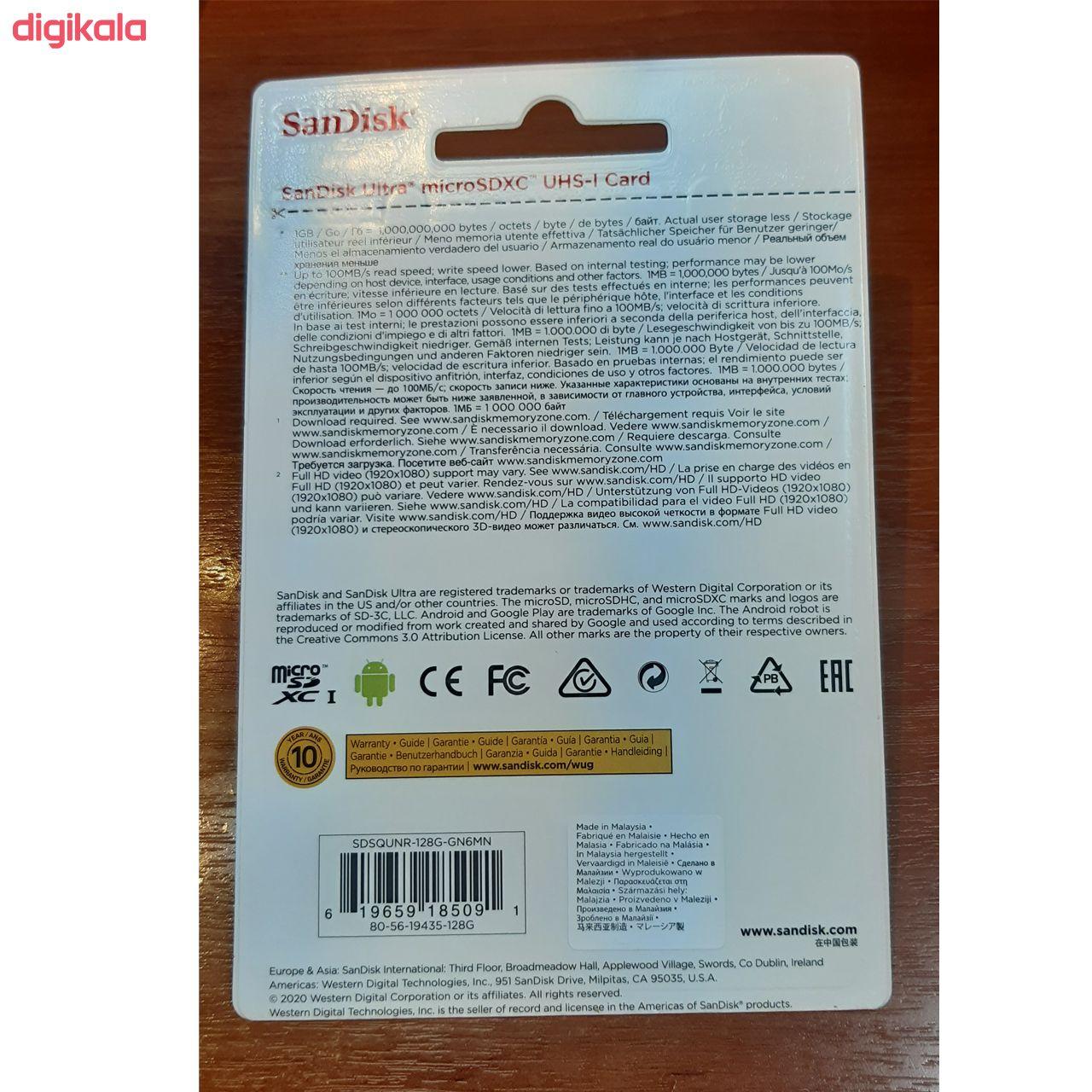 کارت حافظه microSDXC سن دیسک مدل Ultra کلاس 10 استاندارد UHS-I U1 سرعت 100MBps  ظرفیت 128 گیگابایت main 1 2