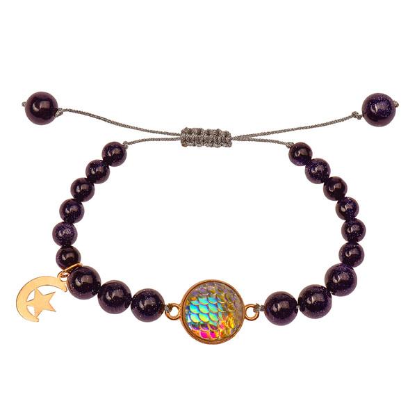 دستبند طلا 18 عیار دخترانه کرابو طرح ماه و ستاره مدل Krd1015