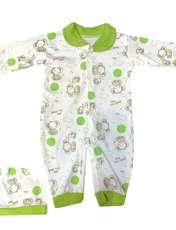 ست سرهمی و کلاه نوزادی مدل A&S7173 رنگ سبز -  - 1