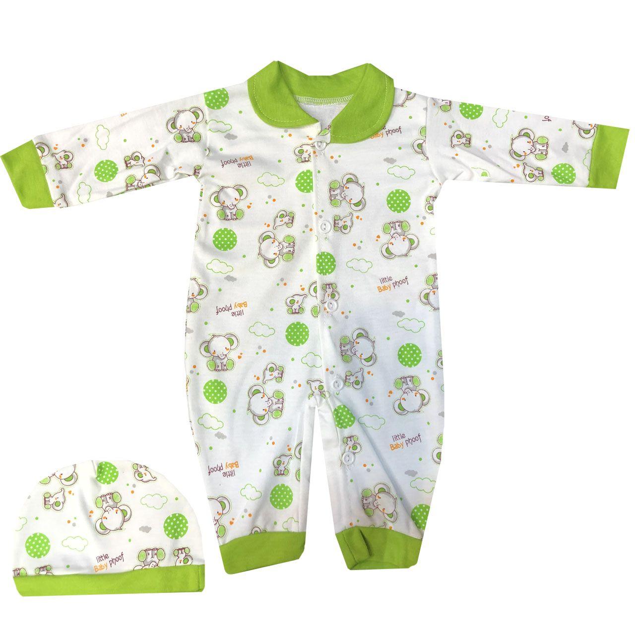 ست سرهمی و کلاه نوزادی مدل A&S7173 رنگ سبز -  - 2