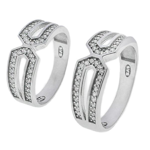 ست انگشتر نقره زنانه و مردانه مدل HS1006