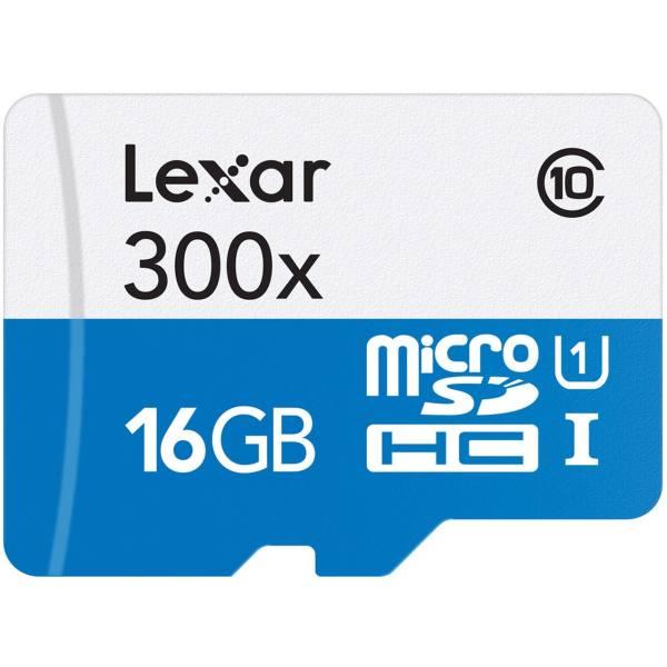 کارت حافظه microSDHC لکسار مدل High-Performance کلاس 10 استاندارد UHS-I U1 سرعت 45MBps ظرفیت 16 گیگابایت