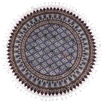 سفره قلمکار ممتاز نرگس خانی مدل 05 - 10 طرح لوزی آبی قطر 100 سانتی متر