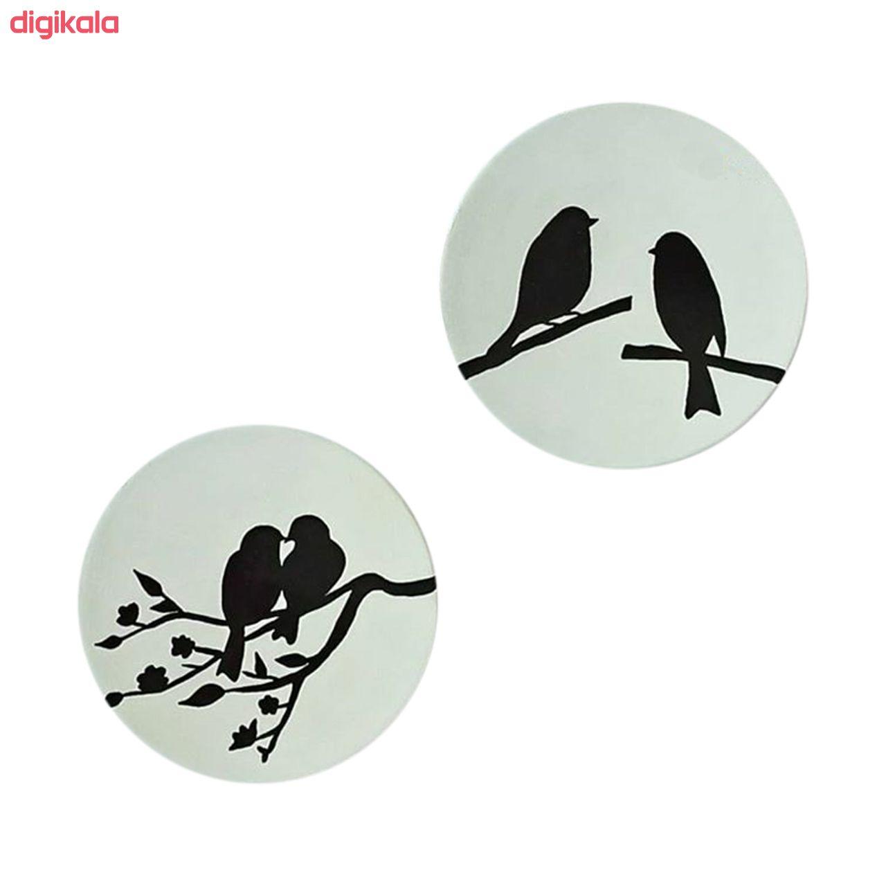بشقاب دیوارکوب سفالی طرح پرنده کد D114-A مجموعه 7 عددی main 1 2