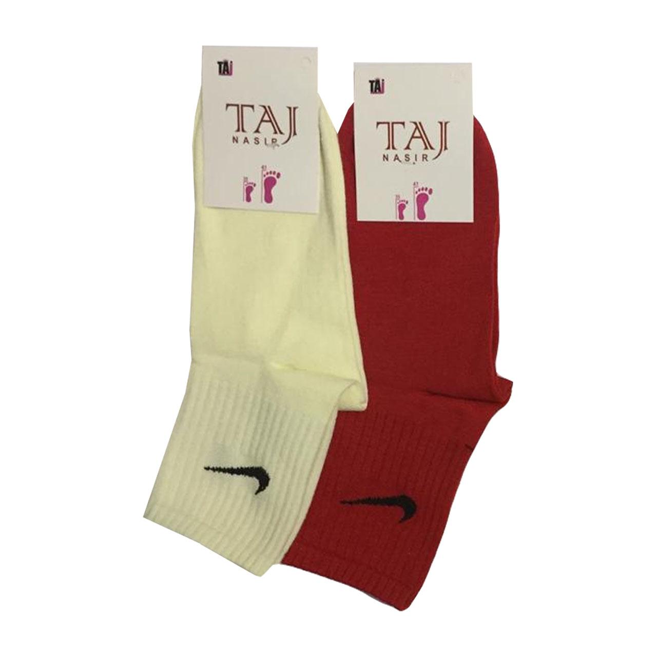 جوراب ورزشی زنانه تاج نصیر کد 2 مجموعه 2 عددی