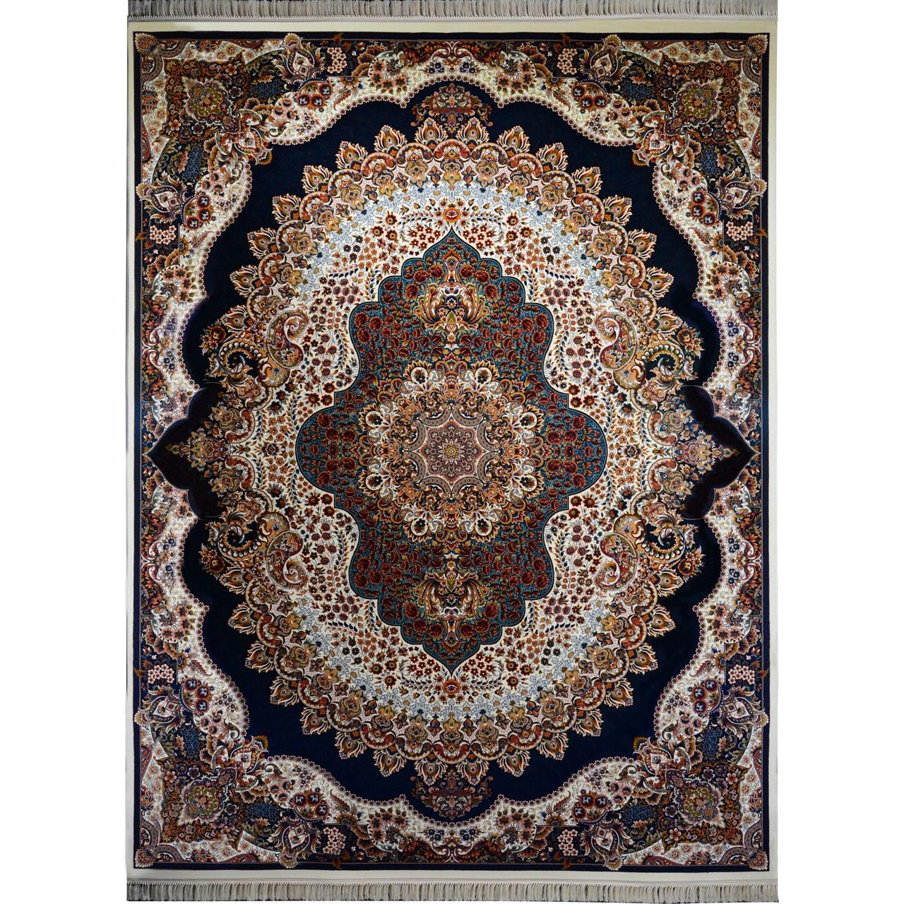 فرش ماشینی احتشامیه طرح ارکیده زمینه کرم