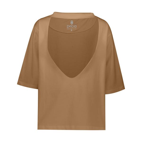تی شرت آستین کوتاه زنانه مدل Anahata رنگ نسکافه ای