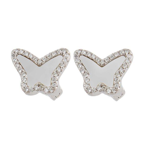 گوشواره نقره زنانه بازرگانی میلادی مدل پروانه صدفی کد GZN_237