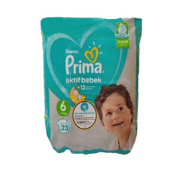 پوشک کودک پریما مدل aktif سایز ۶ بسته ۲۳ عددی