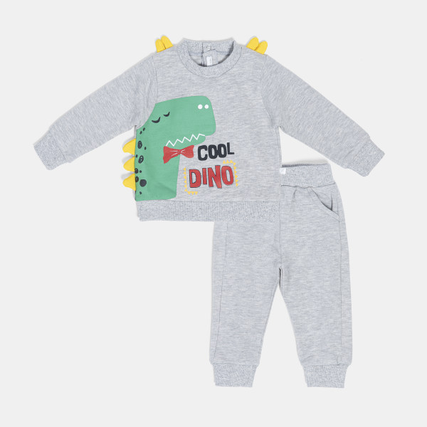 ست سویشرت و شلوار نوزادی پسرانه فیورلا مدل  دایناسور با نمک کد 20512