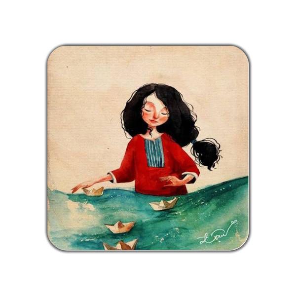 زیر لیوانی طرح دختر و قایق کاغذی کد 11