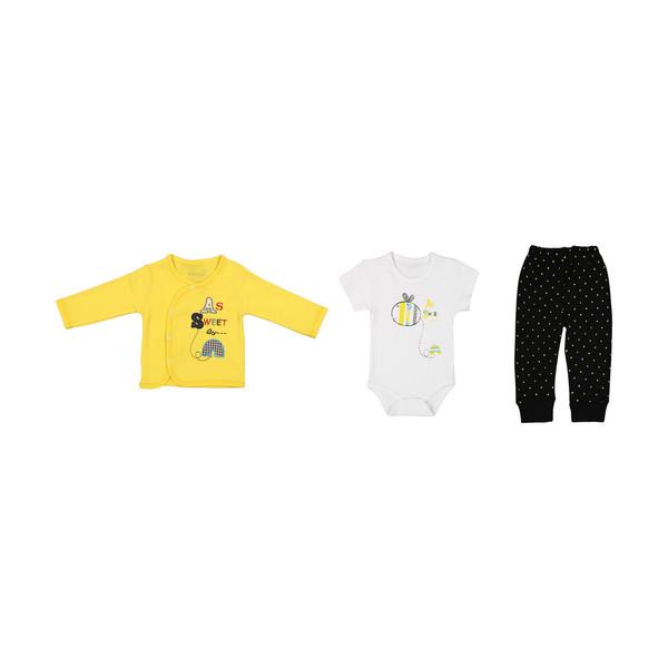 ست 3 تکه لباس نوزاد بی بی وان مدل زنبور کد 402