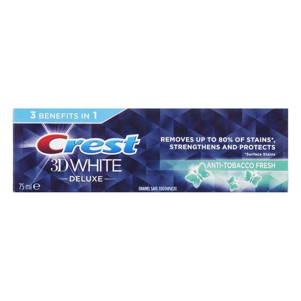 خمیر دندان کرست سری 3D white مدل Anti tobacco Fresh حجم 75 میلی لیتر