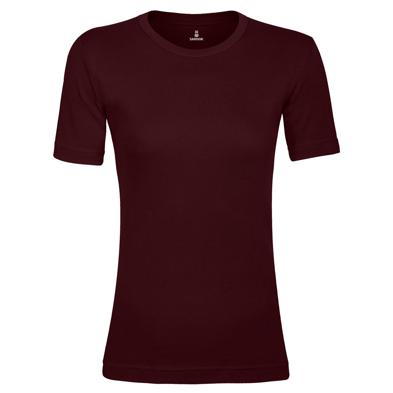 تصویر تی شرت زنانه ساروک مدل U8 رنگ زرشکی