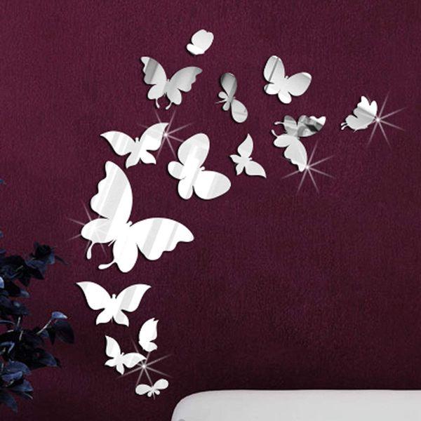 آینه دکوراتیو طرح پروانه بسته 14 عددی