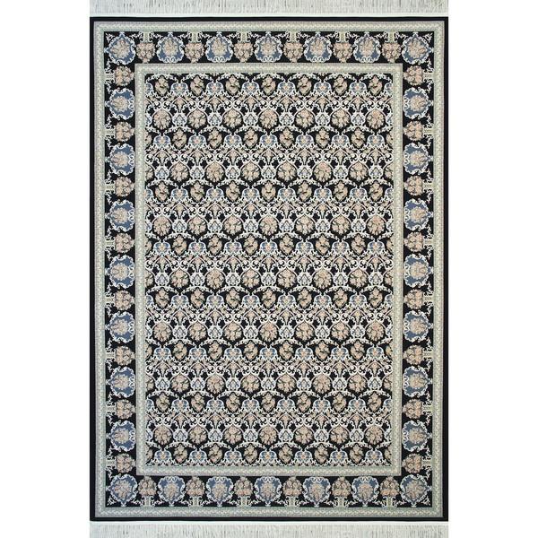 فرش ماشینی مشهد اردهال طرح 12102 زمینه سرمه ای