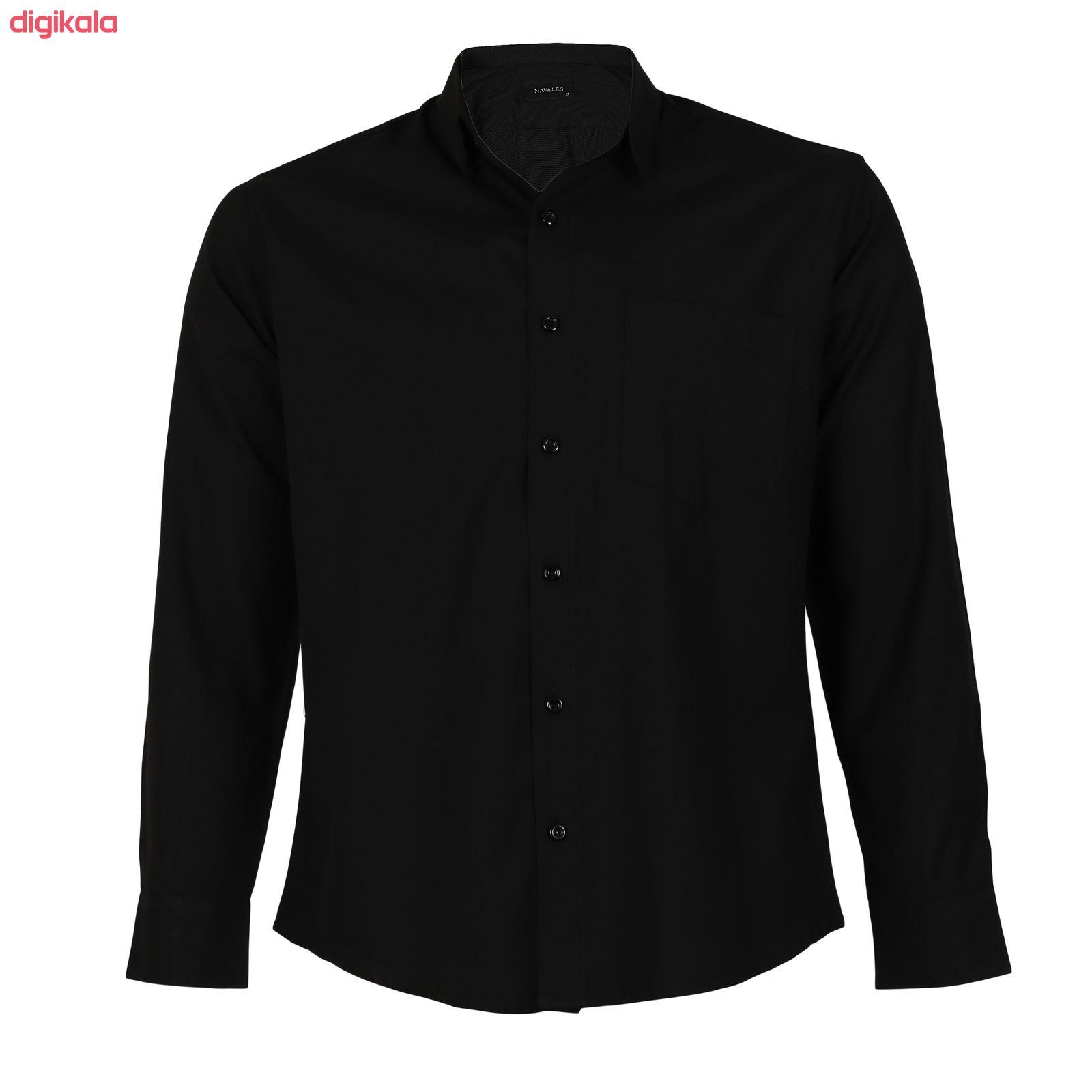 پیراهن آستین بلند مردانه ناوالس مدل NOx8020-BK main 1 3