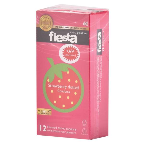 کاندوم خاردار فیستا مدل Strawberry Dotted بسته 12 عددی