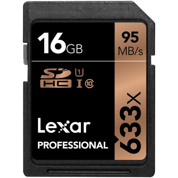 کارت حافظه SDHC لکسار مدل Professional کلاس 10 استاندارد UHS-I U1 سرعت 95MBps ظرفیت 16 گیگابایت