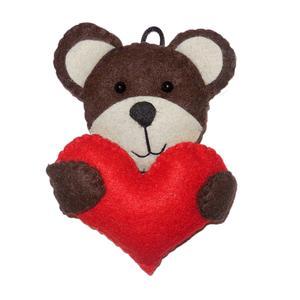 عروسک تزئینی نمدی مدل خرس و قلب کد N-065