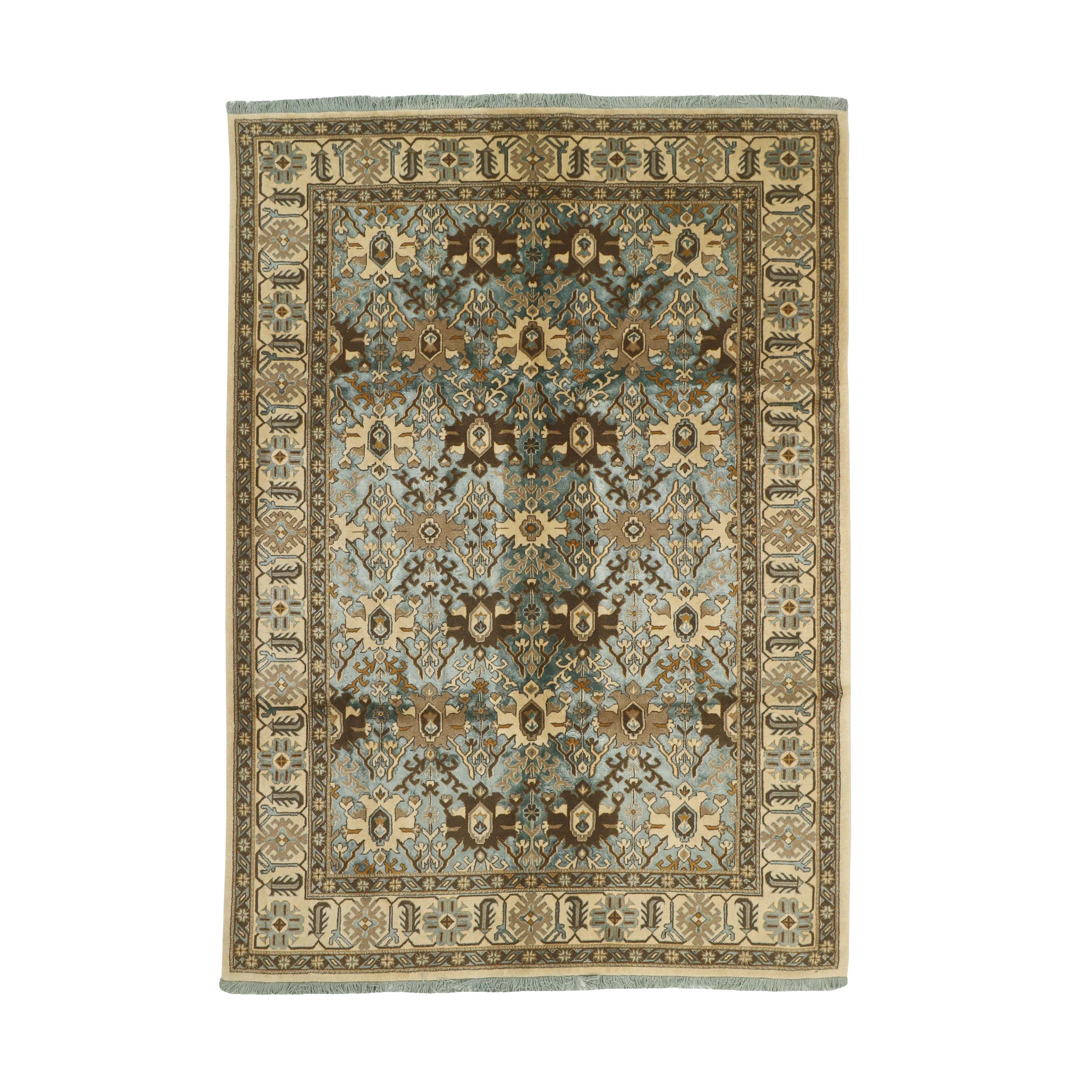 فرش نیمه دستبافت شش و نیم متری طرح گل ابریشم کد 543924