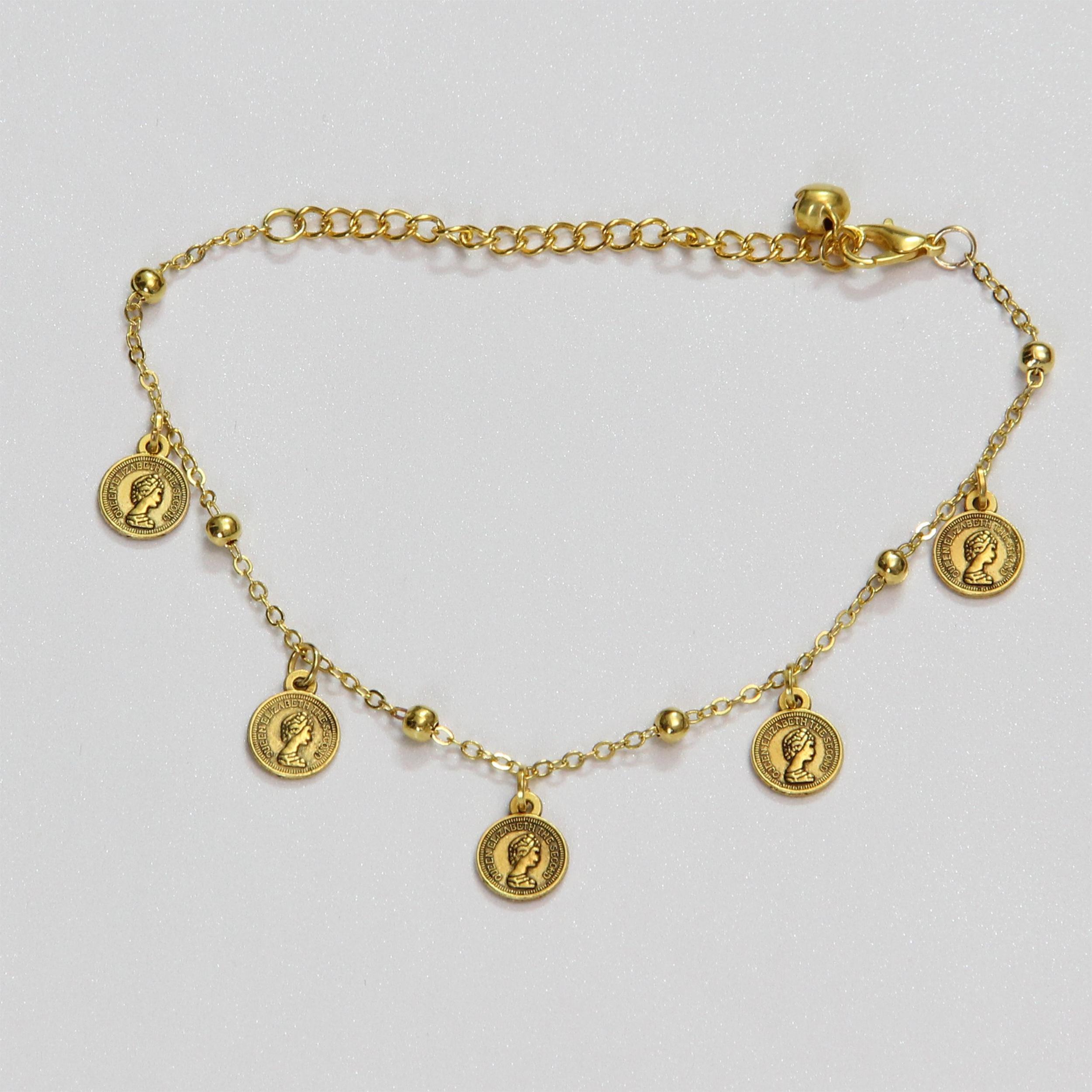 پابند زنانه مدل سکه الیزابت کد HN1702