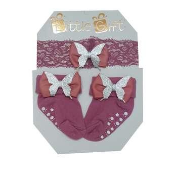 ست هدبند و جوراب نوزادی مدل پروانه کد 2022 رنگ یاسی
