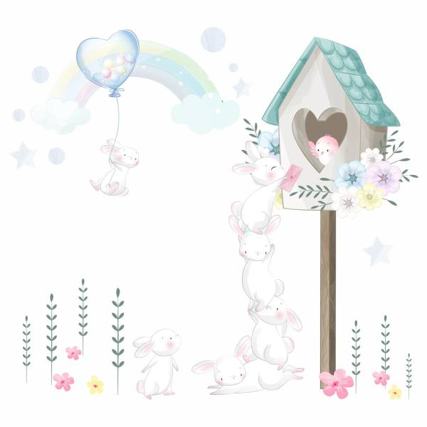 استیکر دیواری کودک طرح خرگوش های بازیگوش