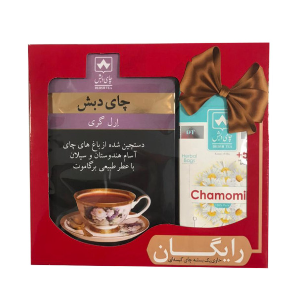 چای ارل گری چای دبش - 500 گرم و دمنوش کیسه ای بابونه دبش 25 عددی