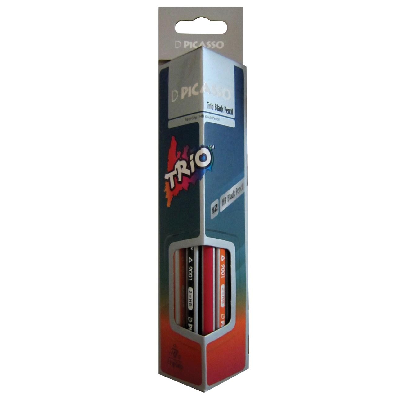 مداد مشکی پیکاسو مدل Trio ـ بسته 12 عددی