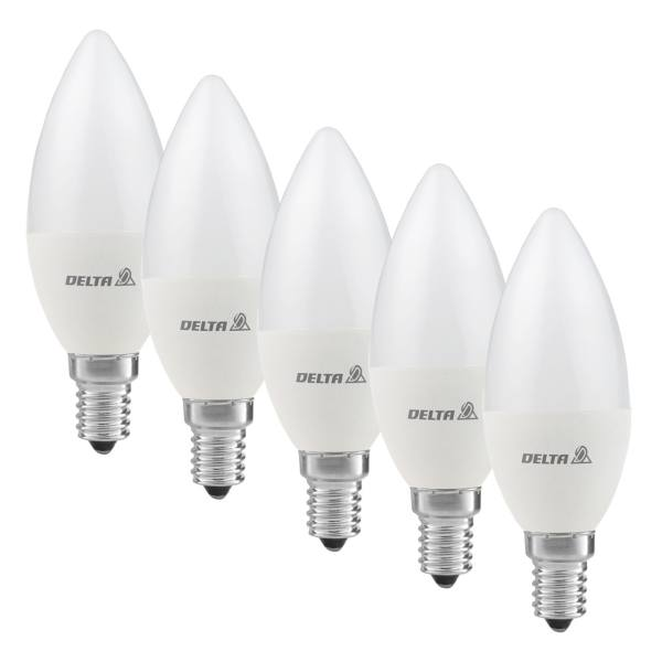 لامپ ال ای دی 7 وات دلتا مدل شمعی پایه E14  بسته 5 عددی