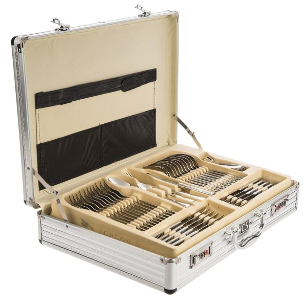 سرویس 104 پارچه قاشق و چنگال کارل اشمیت مدل D Hamburg طرح جعبه آلومینیومی