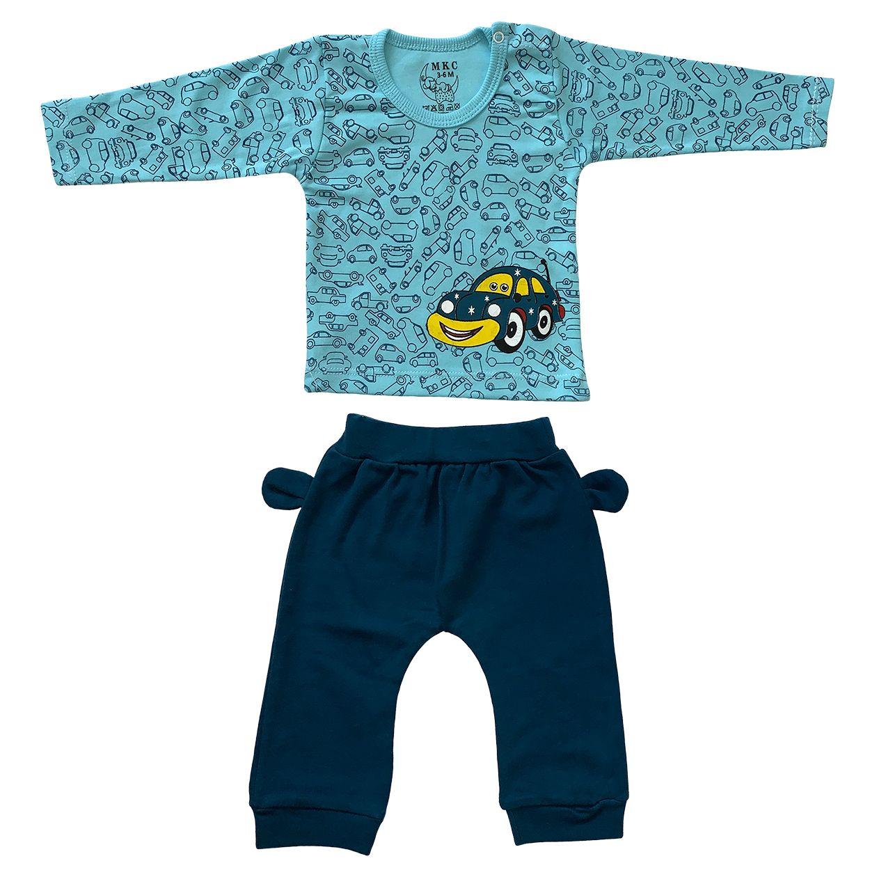 ست تی شرت و شلوار نوزادی طرح ماشین کد FF-078 -  - 3