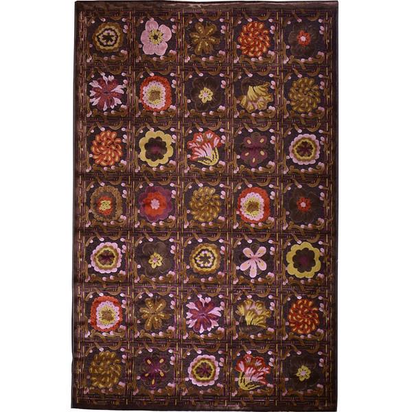 فرش ماشینی شنل پرسان کد 0201  زمینه قهوه ای