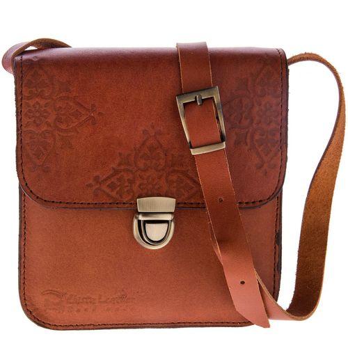 کیف دوشی چرم طبیعی گالری چیستا مدل تک قفل طرح اسلیمی