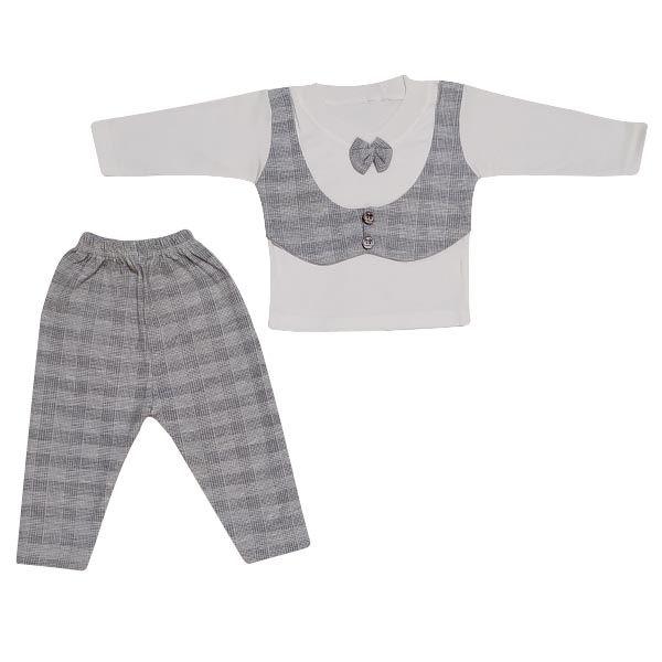 ست تیشرت و شلوار نوزادی پسرانه مدل جنتلمن کد T10 -  - 2