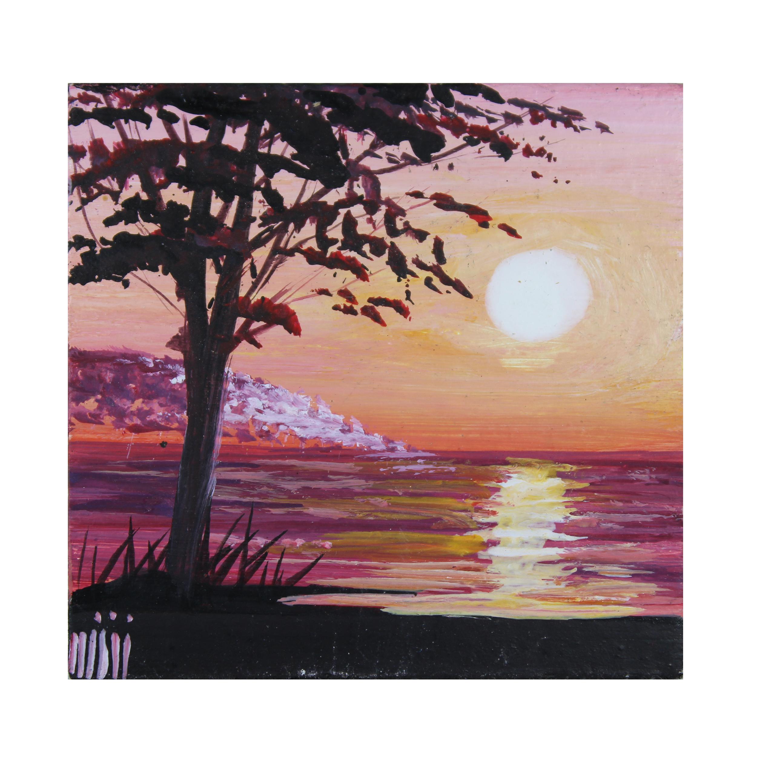 خرید                      تابلو نقاشی رنگ روغن مدل غروب  خورشید کد TBZ14