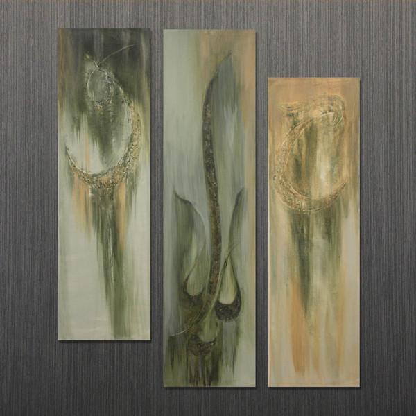 تابلو نقاشی خط ساقی مدل برجسته روی بوم مجموعه سه عددی