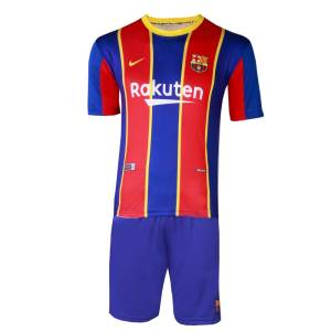 ست پیراهن و شورت ورزشی پسرانه طرح بارسلونا مدل مسی 2021